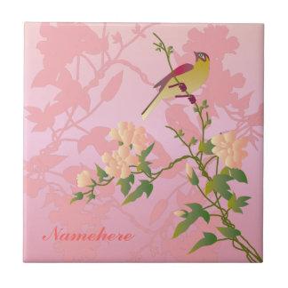 Personalizable: Pájaro en el flor chino Azulejo Cuadrado Pequeño