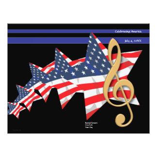 """Personalizable patriótico del programa de la músic folleto 8.5"""" x 11"""""""