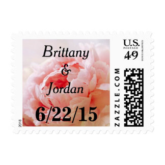 Personalizable Peach Coral Peony Postage Stamps
