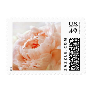 Personalizable Peach Peony Postage Stamps