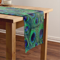 Personalizable Peacock Feather Print Table Runner
