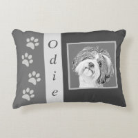 Personalizable Pencil Shih Tzu Accent Pillow