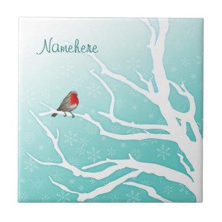 Personalizable: Petirrojo en un árbol Azulejo Cerámica