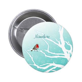 Personalizable: Petirrojo en un árbol Pin Redondo De 2 Pulgadas