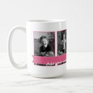Personalizable Photo Mug Pink Banner