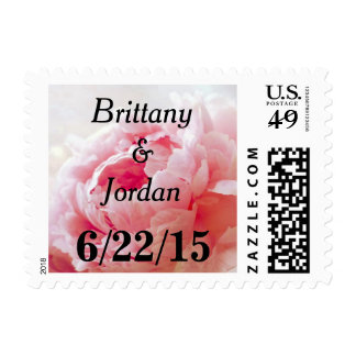Personalizable Pink Coral Peony Postage Stamps