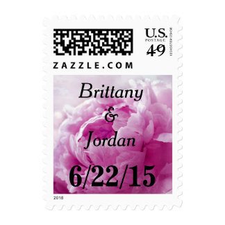 Personalizable Pink Raspberry Peony Postage Stamps