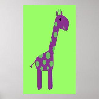 Personalizable púrpura y verde lindo de la jirafa  impresiones