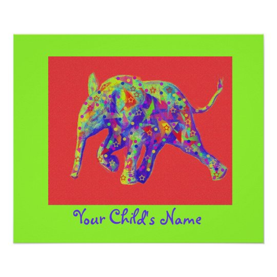 personalizable rainbow baby elephant poster