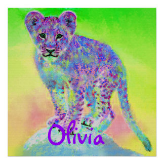 personalizable rainbow lion cub posters