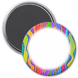 Personalizable RAINBOW STRIPES Round MAGNETS