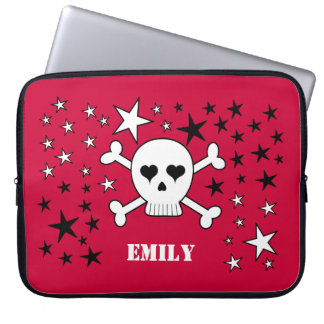 Personalizable Red Cute Skull and Crossbones Laptop Sleeve