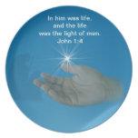 Personalizable religioso de la placa del navidad platos para fiestas
