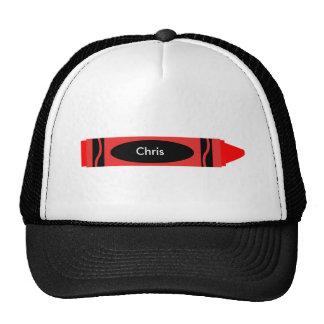 Personalizable rojo del creyón gorras