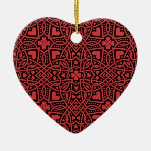 Personalizable rojo del ornamento de los corazones ornato