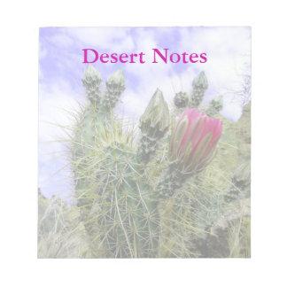 Personalizable rosado de la flor del cactus bloc de notas