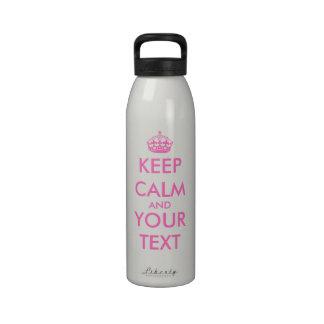 Personalizable rosado del diseño el | de la botell botella de beber
