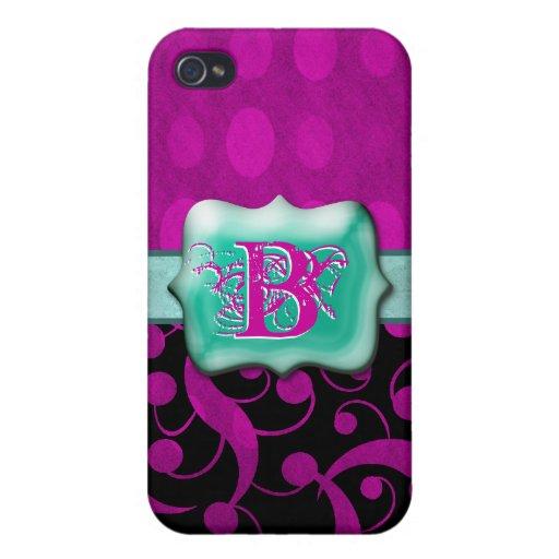 """Personalizable rosado del monograma """"B"""" de la agua iPhone 4 Fundas"""