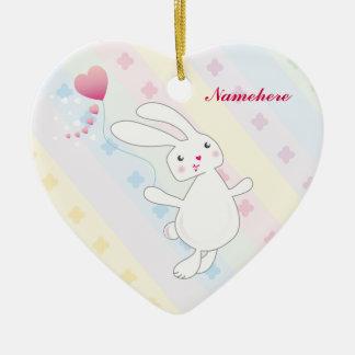Personalizable: Salto del conejito de Kawaii Adorno De Cerámica En Forma De Corazón