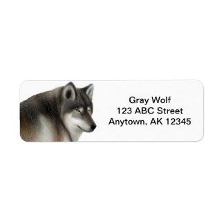 Personalizable salvaje del lobo gris etiquetas de remite