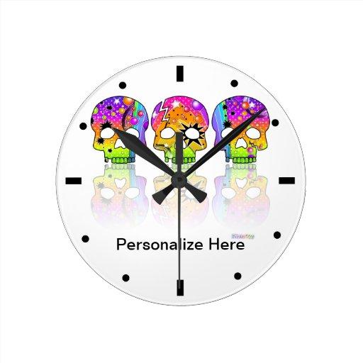 Personalizable SKULL WALL CLOCK