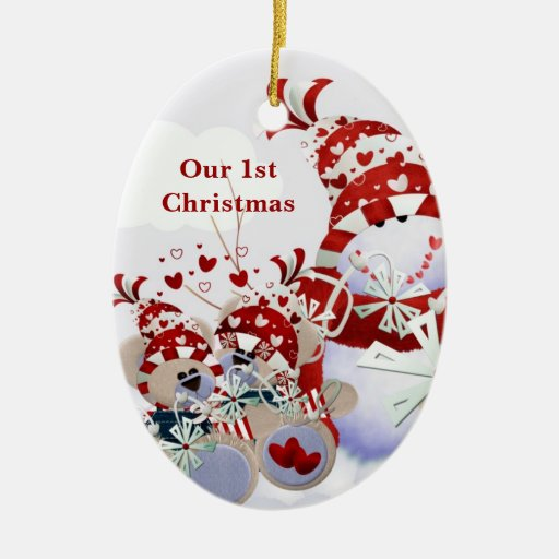 Personalizable Snowman Teddy Bear Hearts Christmas Ornaments