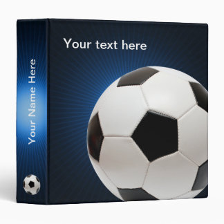 Personalizable Soccer | Football on blue 3 Ring Binder