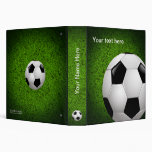 Personalizable Soccer | Football on green grass Vinyl Binder