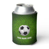 Personalizable Soccer | Football on green grass Can Cooler