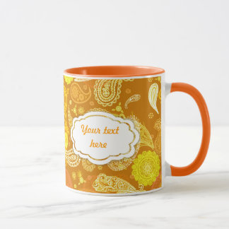 Personalizable soleado amarillo-naranja de Paisley Taza