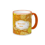Personalizable soleado amarillo-naranja de Paisley Taza De Dos Colores