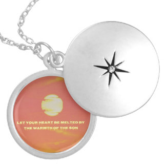 Personalizable Stunning Peach Yellow Abstract Quot Round Locket Necklace