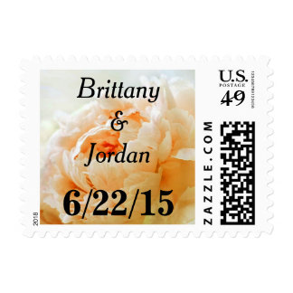Personalizable Tangerine Peach Peony Postage Stamp