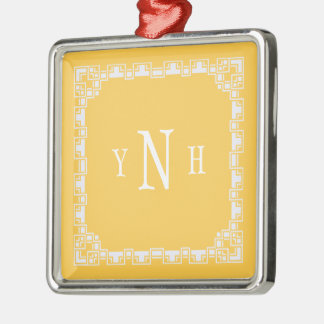 Personalizable  three-letter Monogram with frame Metal Ornament