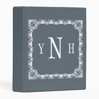 Personalizable  three-letter Monogram with frame Mini Binder