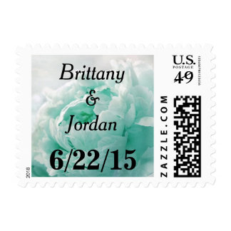 Personalizable Tiffany Blue Peony Postage Stamps