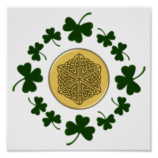 ¡PERSONALIZABLE!  Tréboles - Celtic irlandés del o Posters