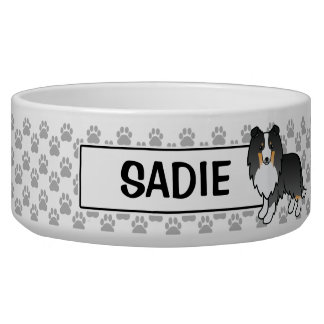 Personalizable Tricolor Sheltie Dog And Name Bowl