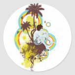Personalizable tropical pegatinas redondas