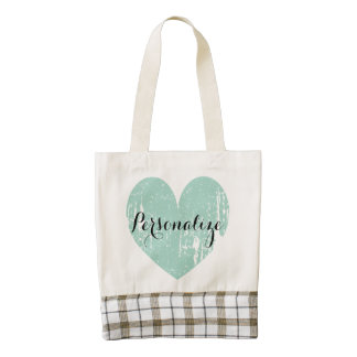 Personalizable turquoise vintage heart tote bag