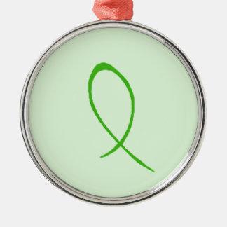 Personalizable verde de la cinta adorno redondo plateado