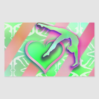 Personalizable verde y rosado del corazón de la pegatina rectangular