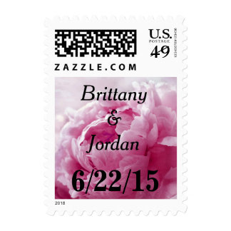 Personalizable Watermelon Pink Peony Postage Stamp