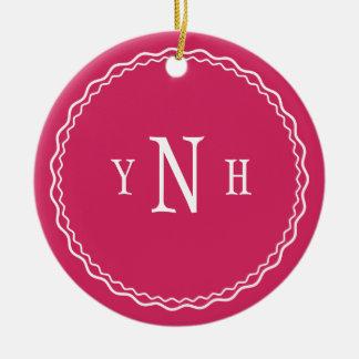 Personalizable with three-letter Monogram Ceramic Ornament