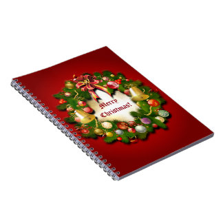Personalizable Xmas Wreath Spiral Notebook