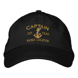 Personalizable YEAR and Names Captain Rope Anchor Embroidered Baseball Hat