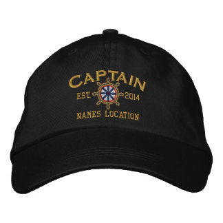 Personalizable YEAR and Names Captain Wheel Embroidered Baseball Caps