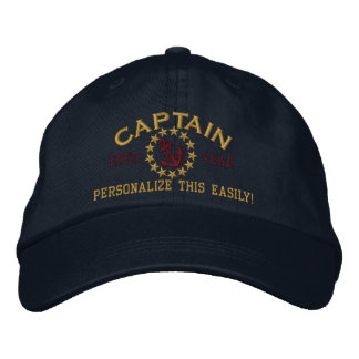 Personalizable YEAR and Names Captain Yacht Flag Embroidered Baseball Hat