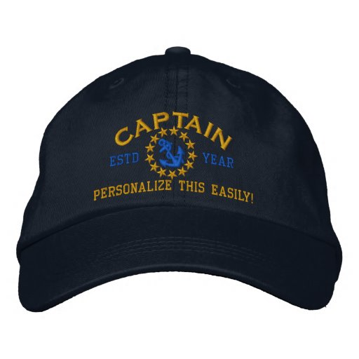 Personalizable YEAR and Names Captain Yacht Flag Embroidered Hats