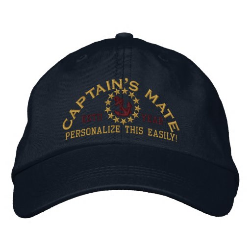 Personalizable YEAR and Names Captain's Mate Embroidered Hat